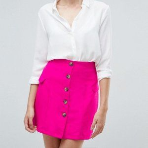 ASOS High Waisted Button Mini Skirt in Pink 4